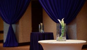 Blue Spark Event Design - Calla Lily Centerpieces with Purple Reception Theme