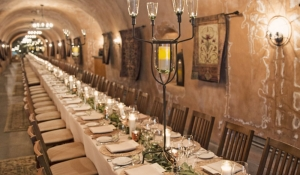 Blue Spark - Benziger Winery, chargers, beige linen, olive branch centerpieces, candles, candelabra, incentive dinner