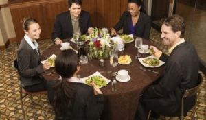Blue Spark Event Design - Dine-around, business dinner, brown linen