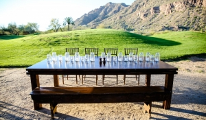 Blue Spark - Farm Tables, mason jar centerpiece, chiavari chairs, camelback mountain