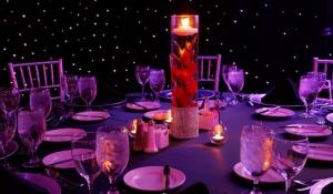 Blue Spark - Gladiolus centerpieces - lighted candle.jpg