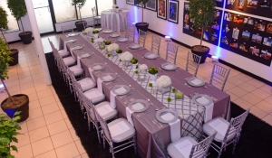Blue Spark - Silver, white and green communal table