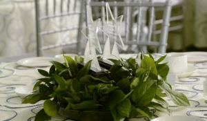 Blue Spark Event Design - Acrylic Award Centerpiece, Greenery Ring