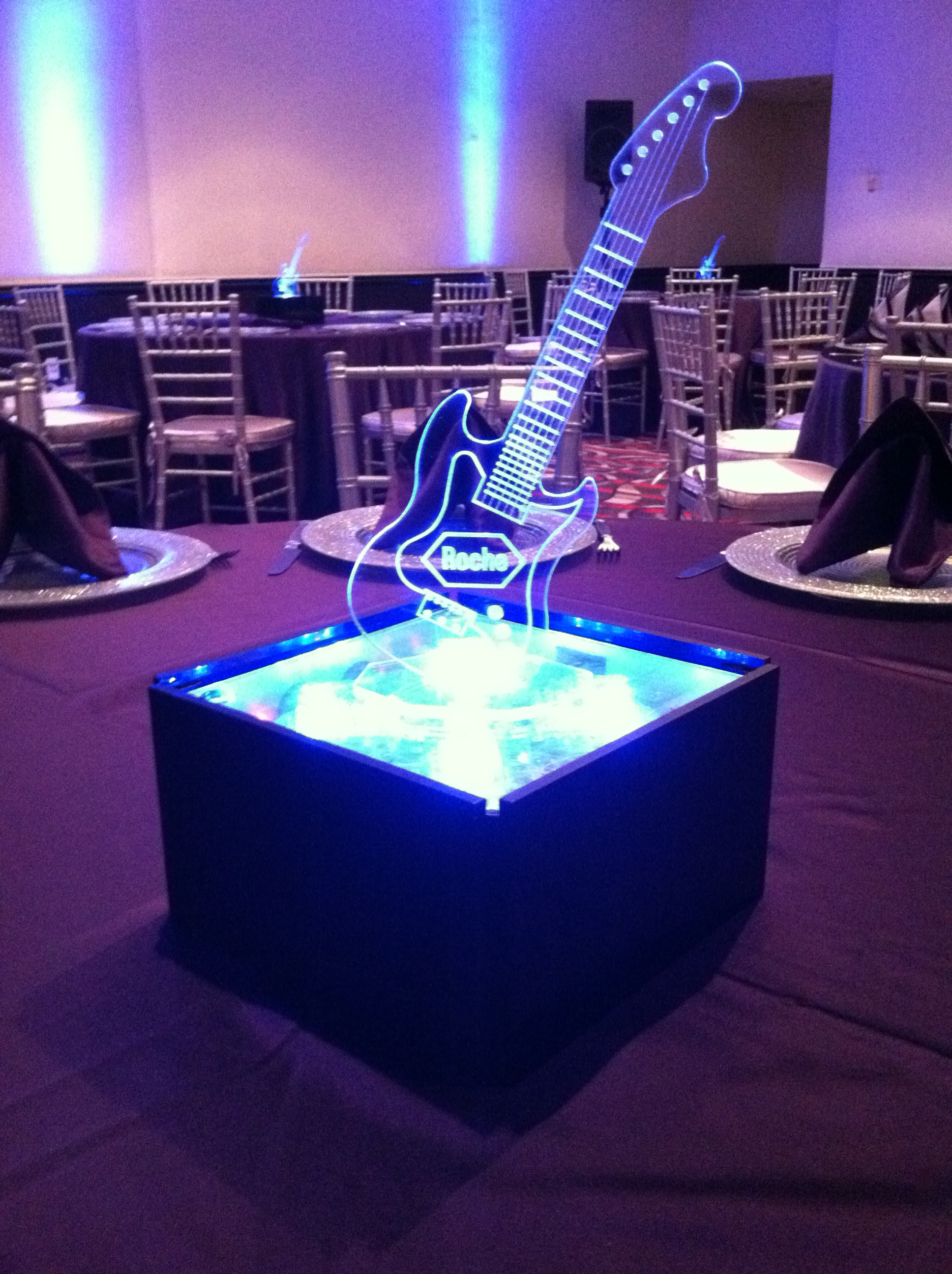 Blue Spark Event Design - Custom Acrylic Guitar Centerpiece - Rock n Roll - up close shot