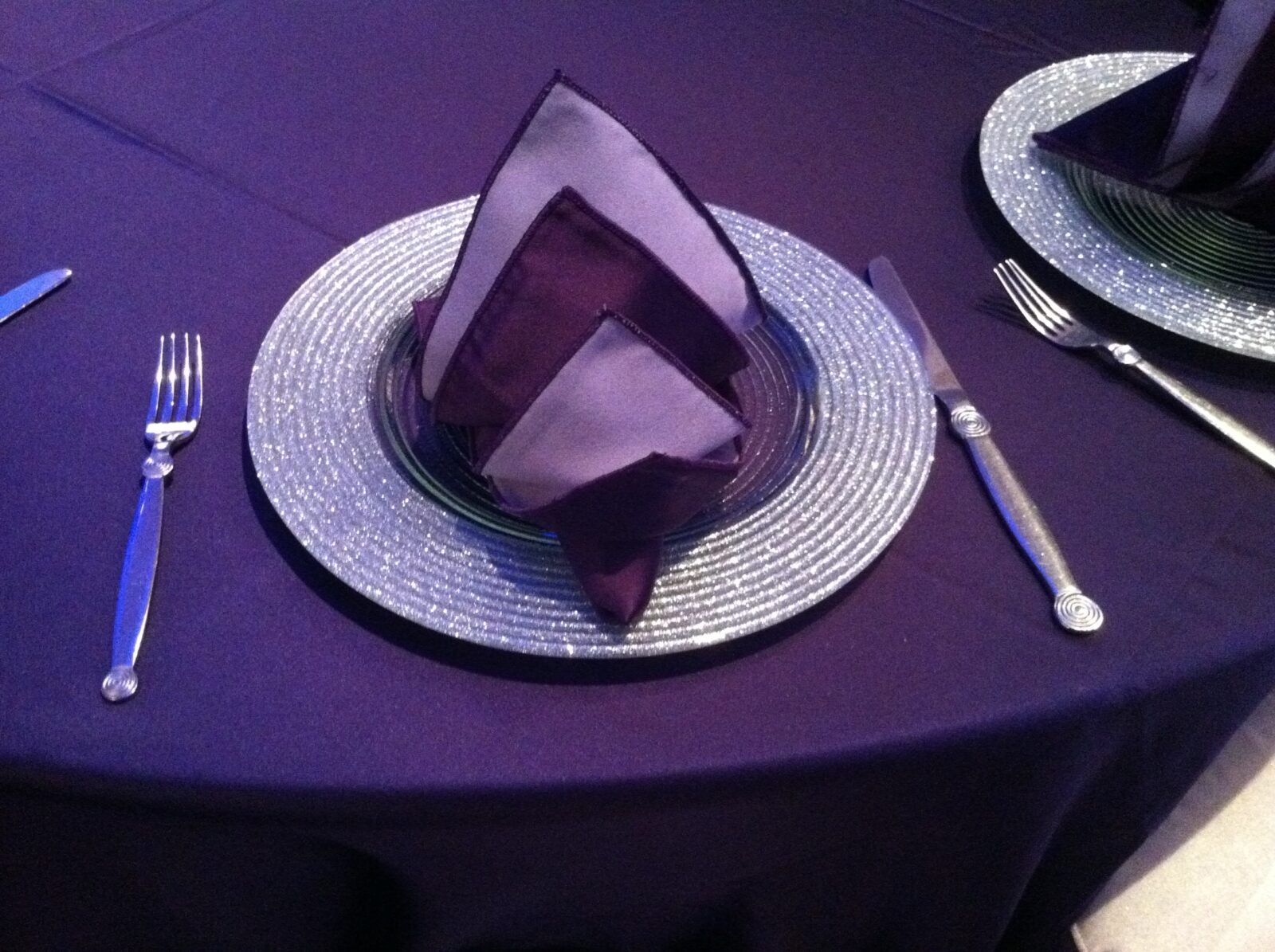 Blue Spark Event Design - Purple satin linen - Silver charter, Purple Satin Napkin