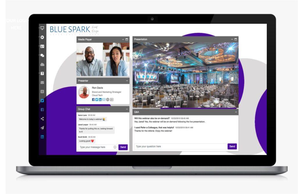 Photograph of a Virtual Event Platform produced by Blue Spark Event Design