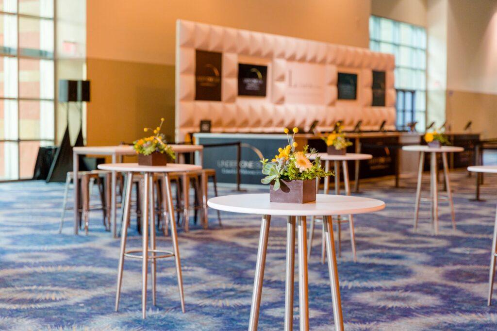 Custom branded registration and hiboy tables