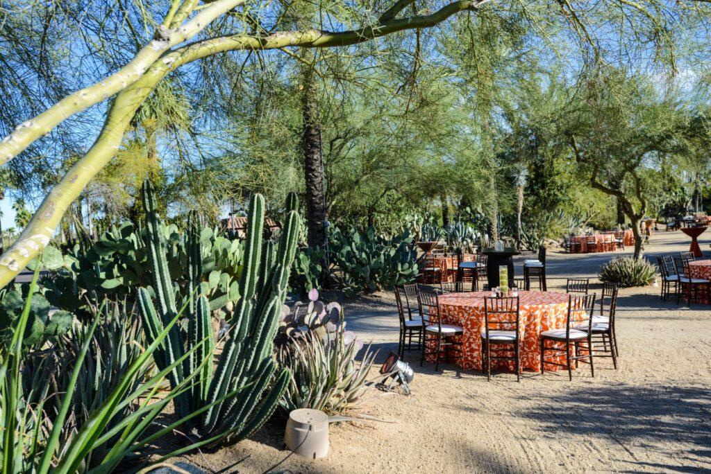 Custom event design southwest orange and white theme dinner event