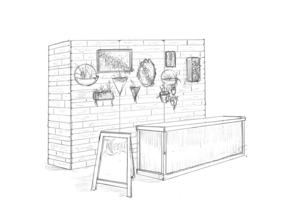 This is a sketch of custom built wood wall with a table and chalkboard sign.